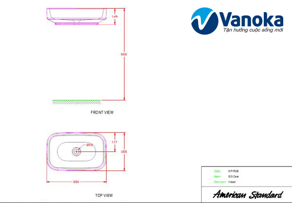 Ban ve ky thuat Lavabo dat ban American Standard IDS Clear WP-F626