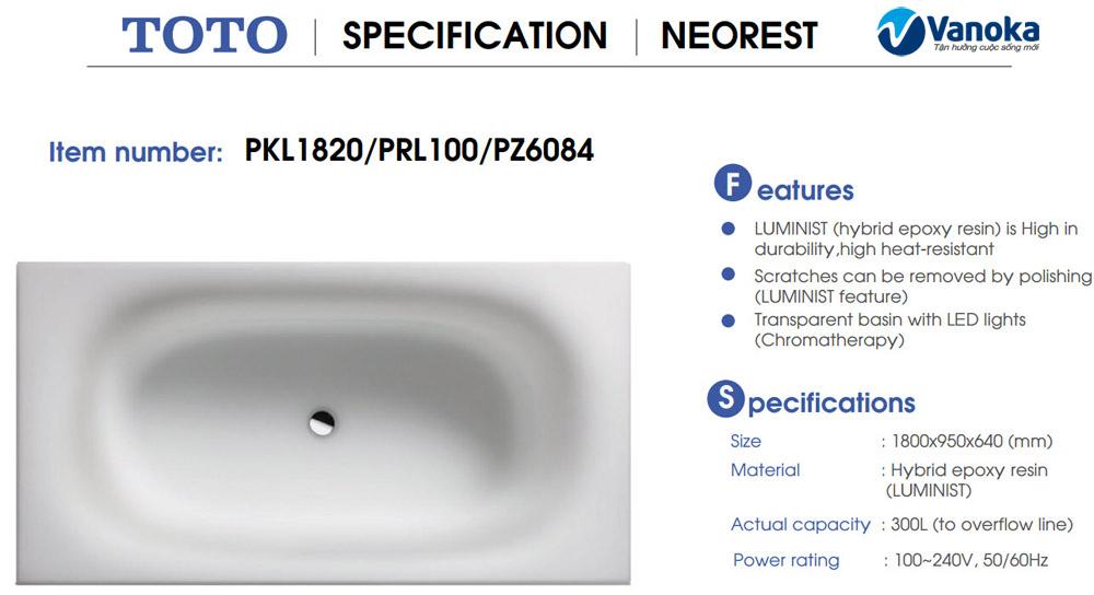 Bon tam Toto Neorest Le PKL1820