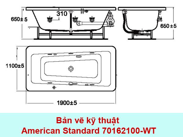 bản vẽ kỹ thuật bồn tắm american standard imagine 70162100-wt