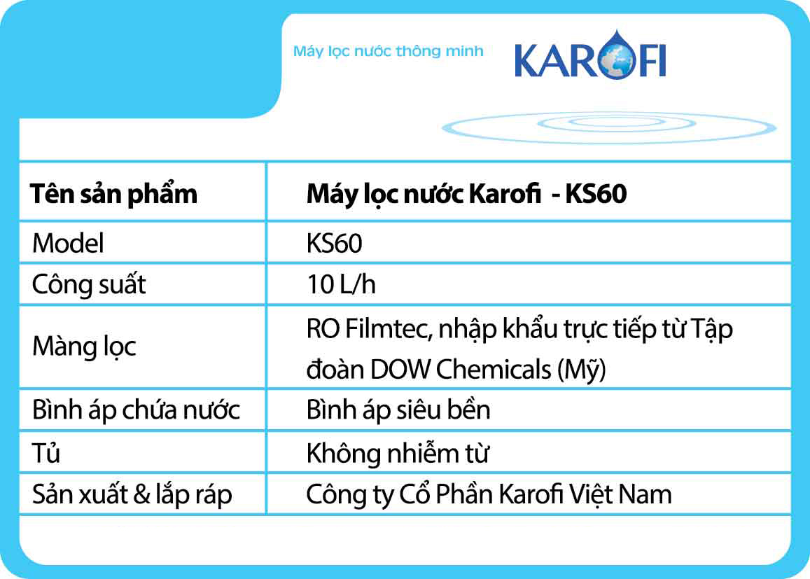 Máy lọc nước KAROFI sRO 6 lõi