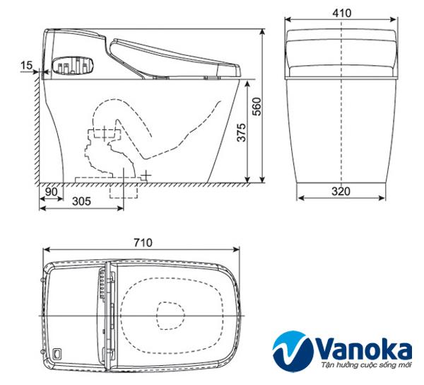 Thông số kỹ thuật Bàn cầu thông mình nắp rửa điện tử American Standard KF-8370/KP-3501