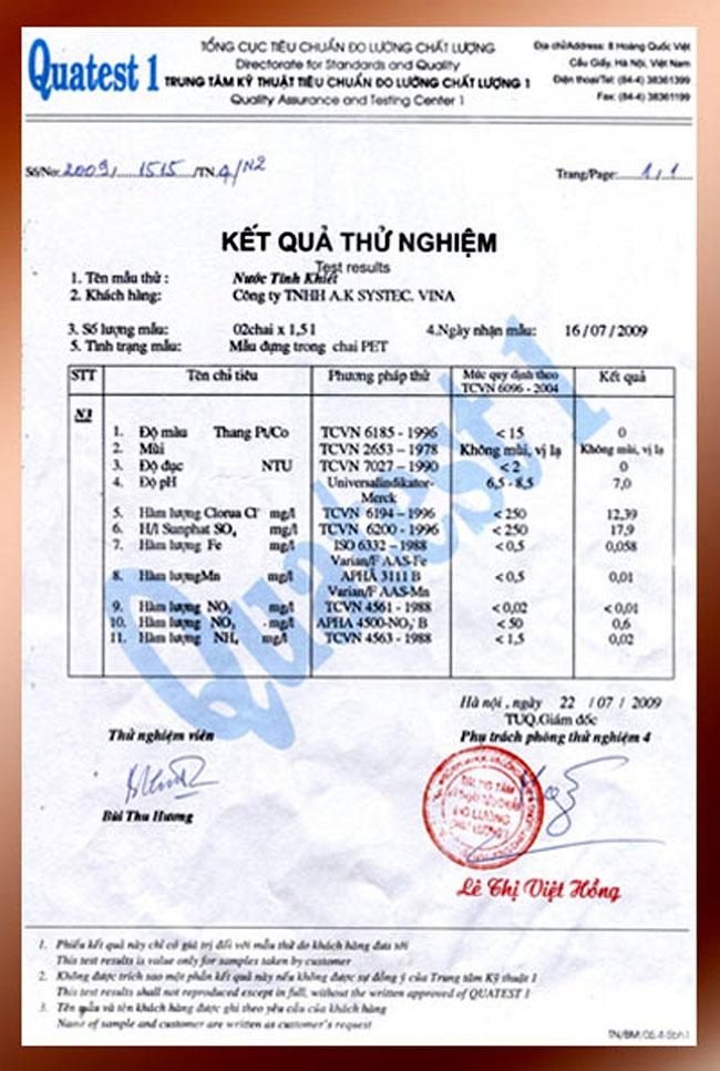 Giay chung nhan thu nghiem tren may loc nuoc Aksystec AK-1000