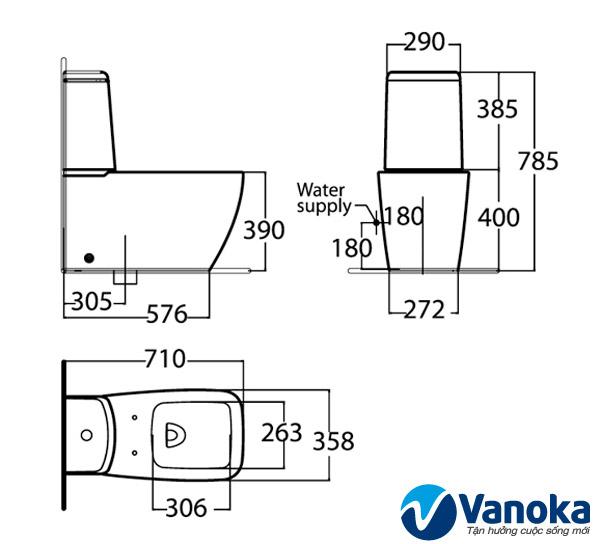 Thông số kỹ thuật Bàn cầu American Standard Ventuno 2329-WT 2 khối