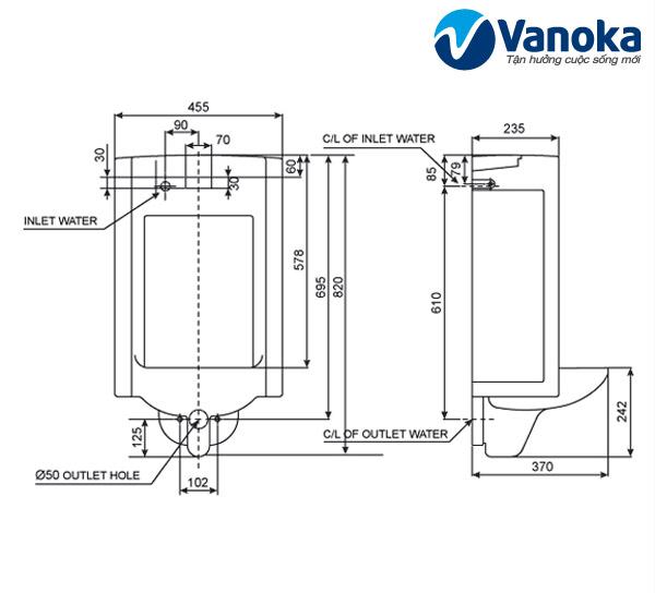 Thông số kỹ thuật Bồn tiểu treo tường cảm ứng American Standard WP-6506