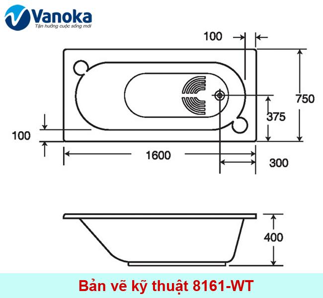 Thông số kỹ thuật Bồn tắm American Standard Saturn S 8161-WT