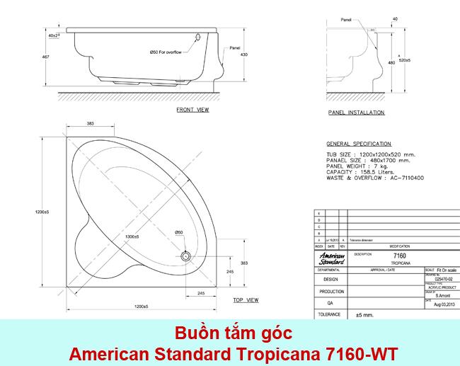 Thông số kỹ thuật Bồn tắm góc American Standard Tropicana 7160-WT