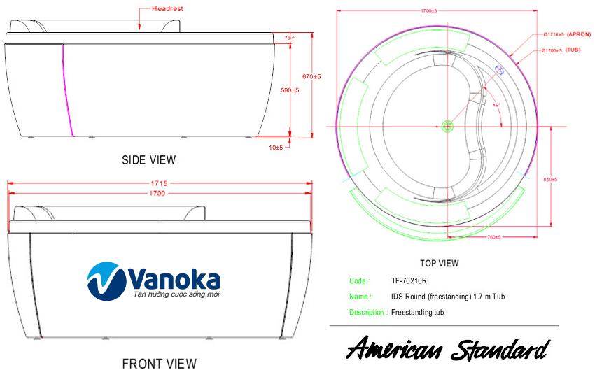 Thông số kỹ thuật Bồn tắm American Standard IDS 70210-WT