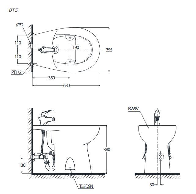 Thông số kỹ thuật Bồn tiểu nữ đặt sàn Toto BT5