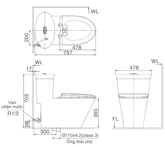 Thông số kỹ thuật Bàn cầu một khối Inax GC-3003+CW-H21VN công nghệ ECO-X