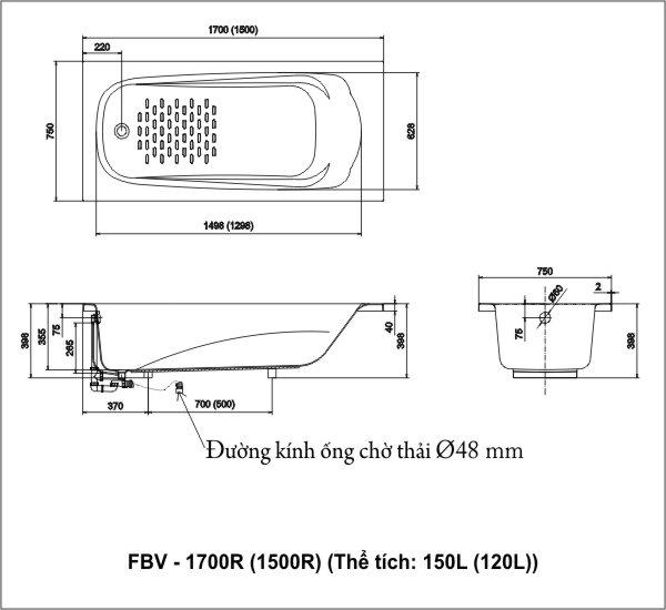 Thông số kỹ thuật Bồn tắm Inax Ocean FBV-1700R, FBV-1500R