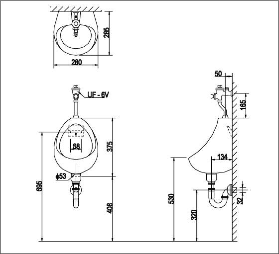 Thông số kỹ thuật Bồn tiểu nam Inax U-116V