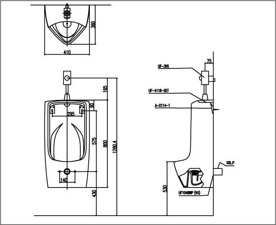 Thông số kỹ thuật Bồn tiểu nam inax U-411V