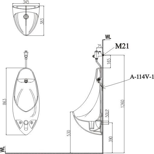 Thông số kỹ thuật Bồn tiểu nam Inax U-417V