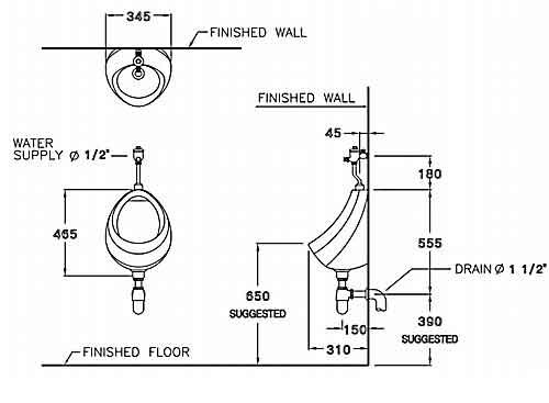 Thông số kỹ thuật Tiểu nam treo tường Cotto C307 nhập khẩu chính hãng Thái Lan