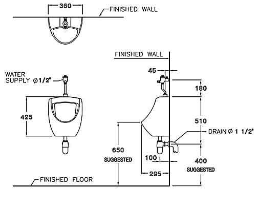 Thông số kỹ thuật Tiểu nam treo tường Cotto C3080