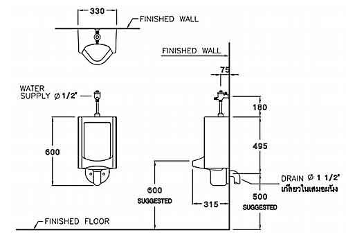 Thông số kỹ thuật Tiểu nam treo tường COTTO C313