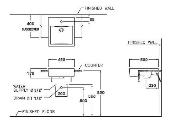 Thông số kỹ thuật Chậu rửa bán âm bàn Cotto C02717 – Pravis nhập khẩu giá rẻ