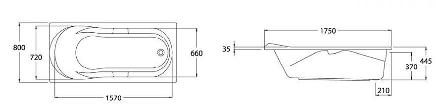 Thông số kỹ thuật Bồn tắm nằm COTTO BT211-BH221