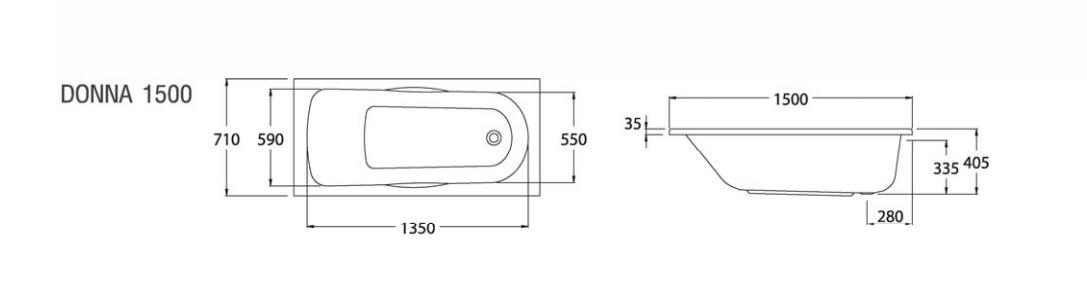 Thông số kỹ thuật Bồn tắm nằm Donna COTTO BT215 – BH225