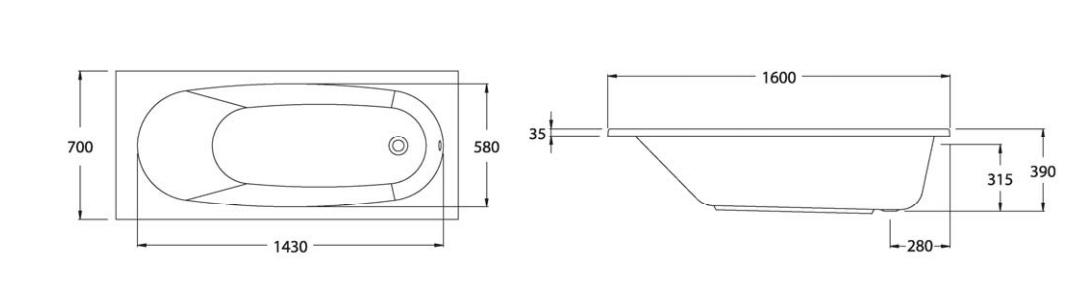 Thông số kỹ thuật Bồn tắm nằm Santa COTTO BT216 – BH226