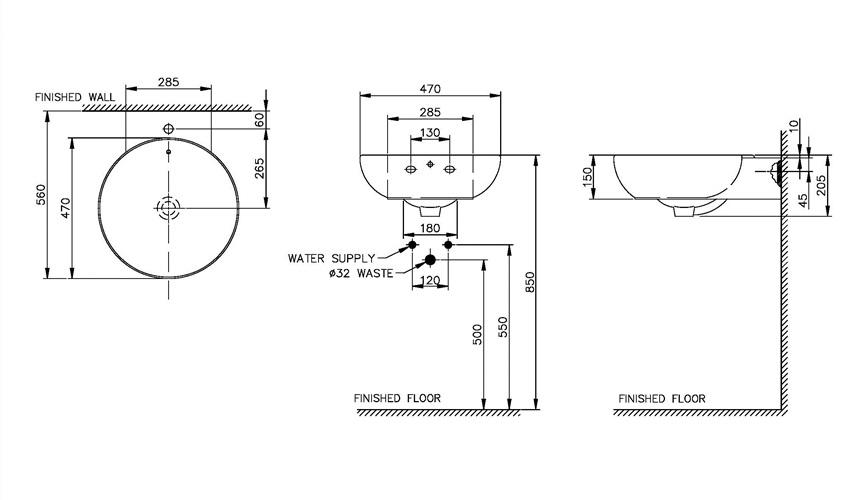 Thông số kỹ thuật Chậu rửa Lavabo DEW Nahm NM-5110-SC/WT