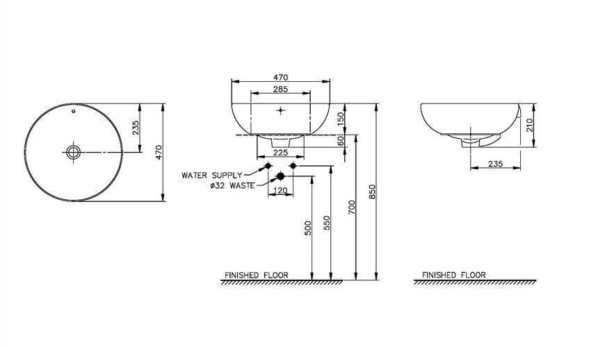 Thông số kỹ thuật Chậu rửa Lavabo DEW đặt bàn Nahm NM-5111/WT