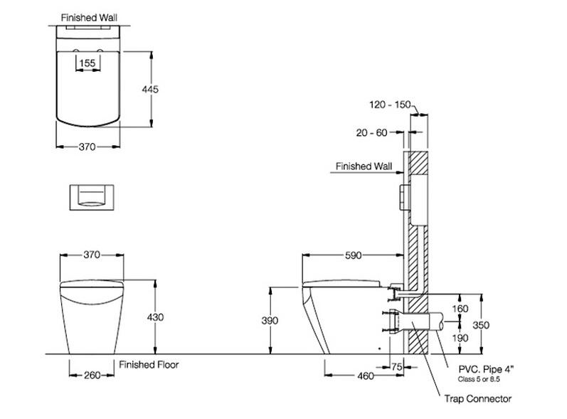 Thông số kỹ thuật Bồn cầu đặt sàn Tetragon COTTO SC19847(F)