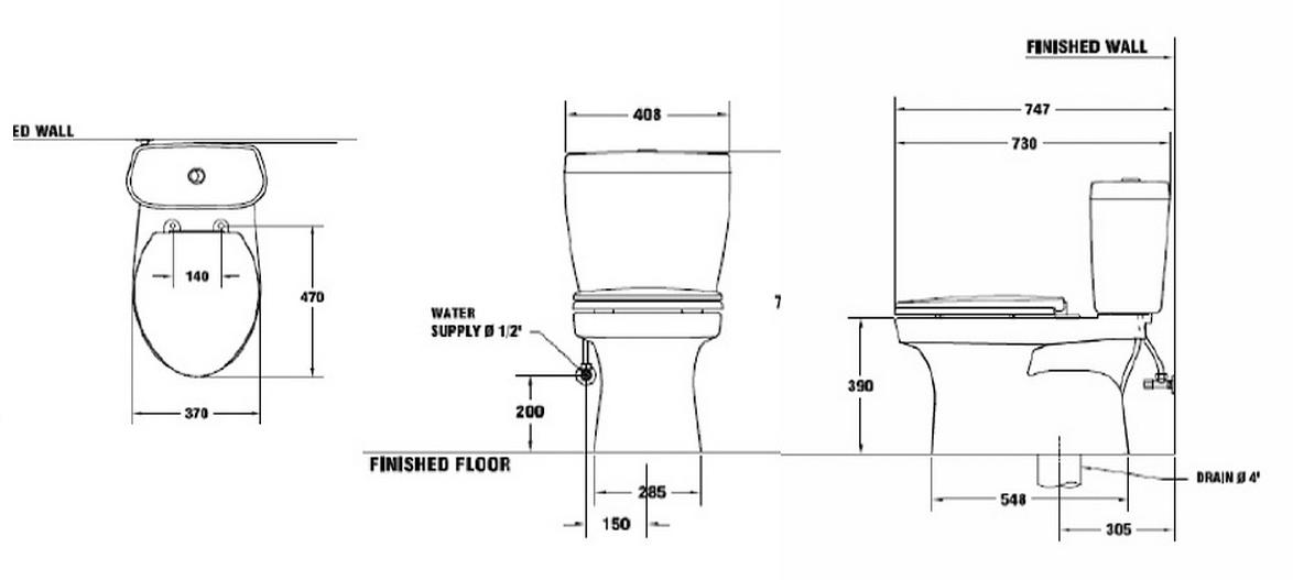 Thông số kỹ thuật Bồn cầu 2 khối 2 xả ấn Titan COTTO C13882