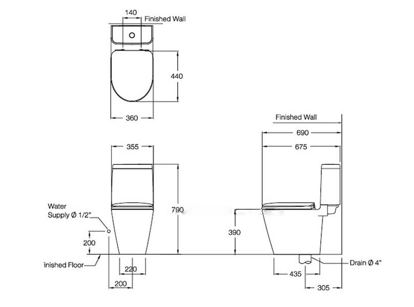 Thông số kỹ thuật Bồn cầu 2 khối Space Solution COTTO C17027