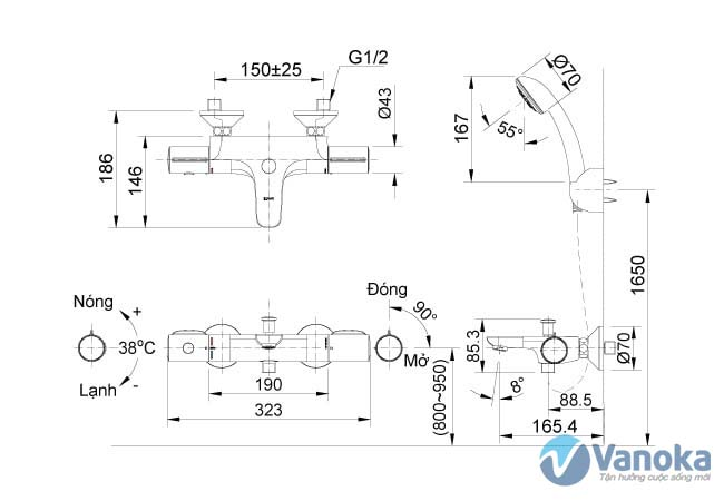 Thông số kích thước sen tắm nhiệt độ Inax BFV-3413T-4C