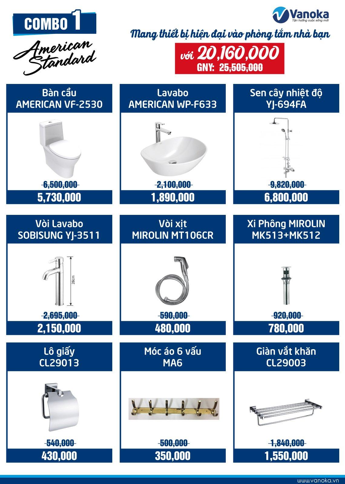 Combo American Standard 1: Mang thiết bị hiện đại vào phòng tắm nhà bạn thumbnail