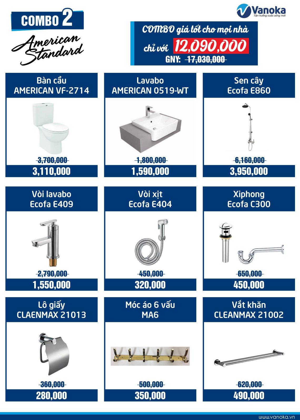 Combo American Standard 2: Combo giá tốt cho mọi nhà chỉ với 12.09 triệu thumbnail