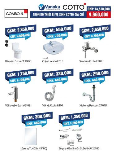 Combo Cotto 3: Trọn bộ thiết bị vệ sinh Cotto giá chỉ 9.96 thumbnail