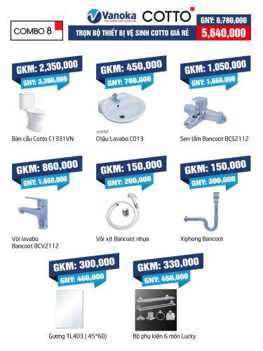 Combo Cotto 8: Trọn bộ thiết bị vệ sinh Cotto giá rẻ thumbnail