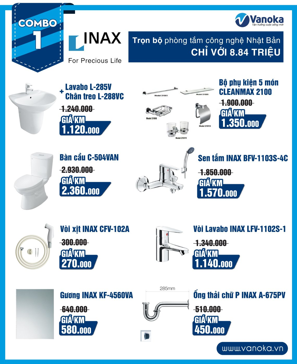 Combo Inax 1: Trọn bộ phòng tắm công nghệ Nhật Bản Chỉ với 8.84 triệu thumbnail