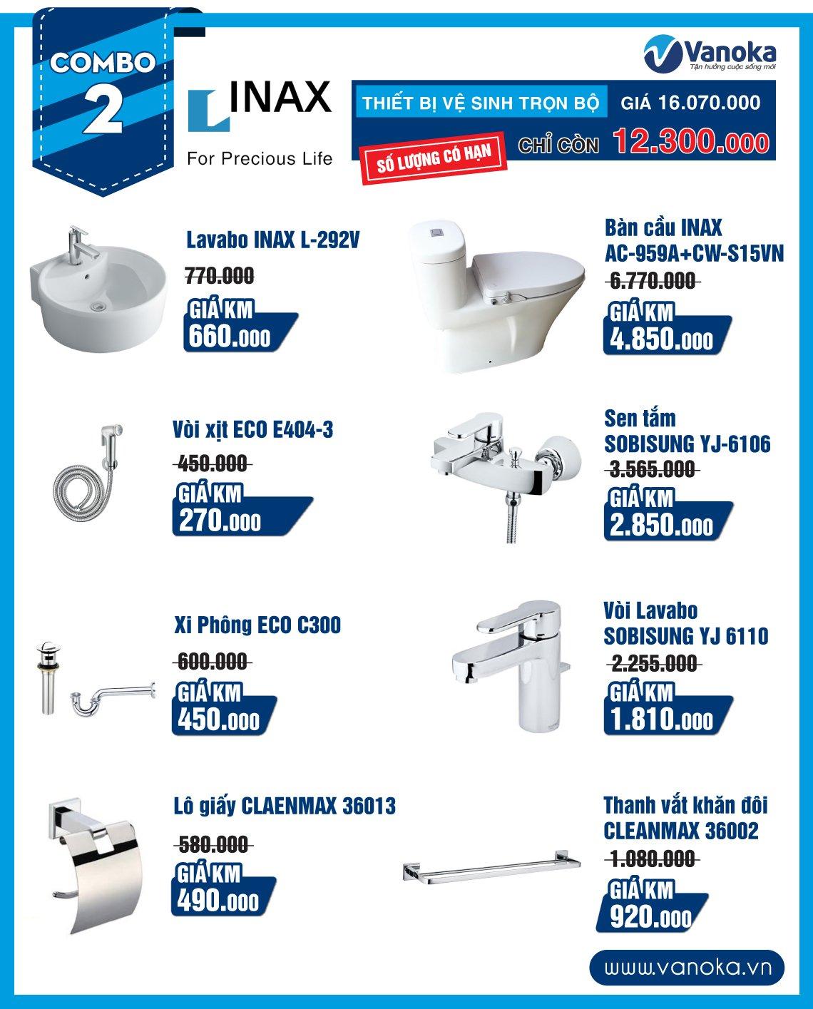 Combo Inax 2: Thiết bị vệ sinh trọn bộ chỉ còn 12.3 triệu (số lượng có hạn) thumbnail