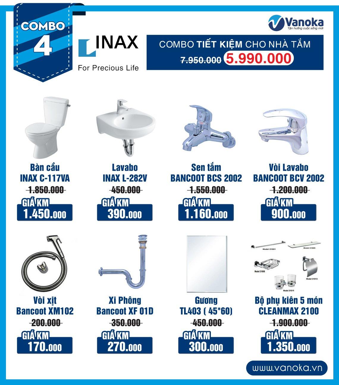 Combo Inax 4: Combo siêu tiết kiệm cho mọi nhà giá chỉ 6.060 triệu thumbnail