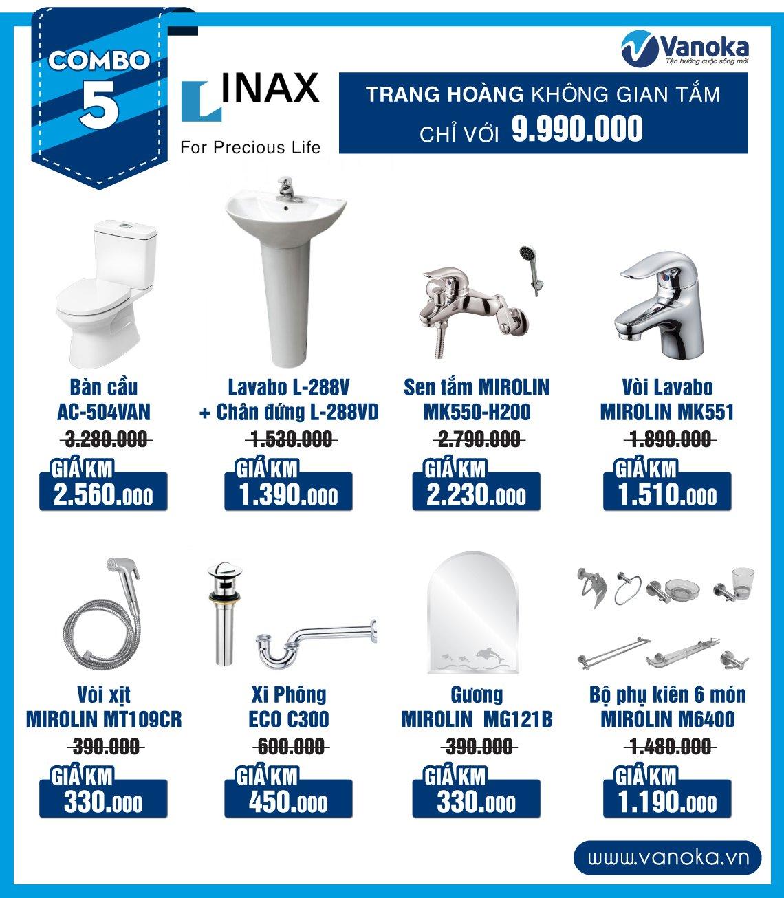 Combo Inax 5: Trang hoàng không gian phòng tắm chỉ với 9.99 triệu thumbnail