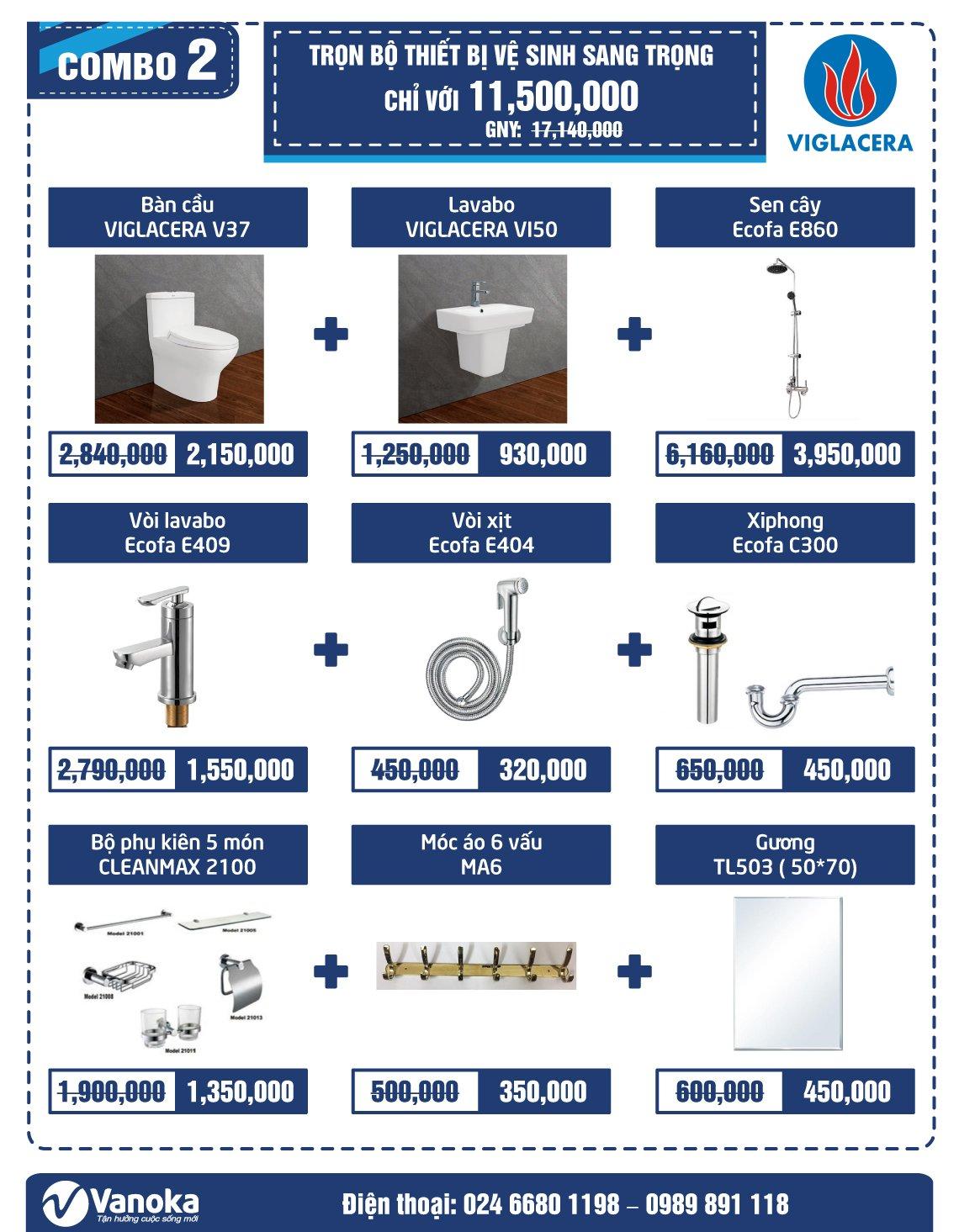 Combo Viglacera 2: Trọn bộ thiết bị vệ sinh sang trọng chỉ với 11.5 triệu thumbnail