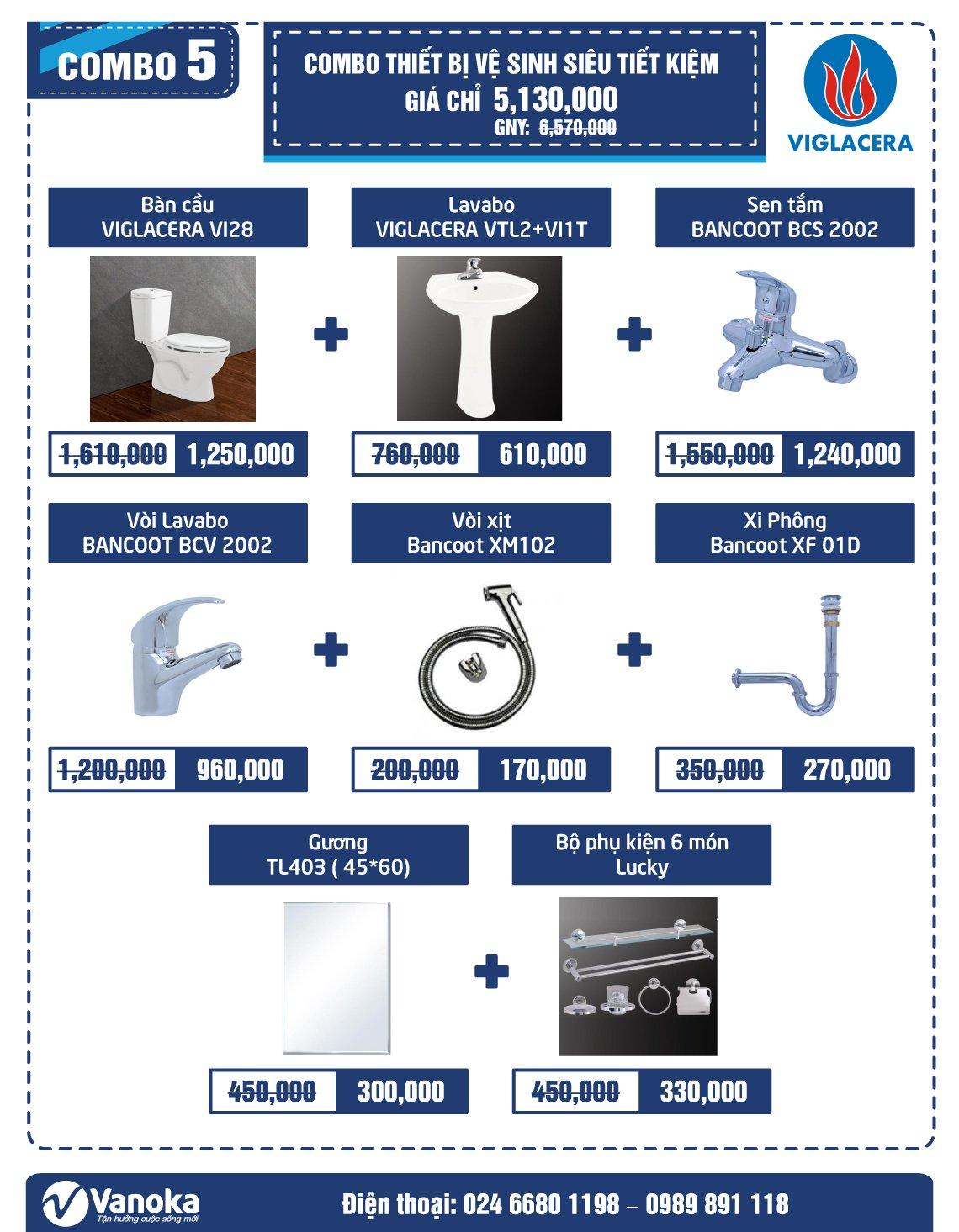 Combo Viglacera 5: Combo thiết bị vệ sinh siêu tiết kiệm giá chỉ 5.13 triệu thumbnail