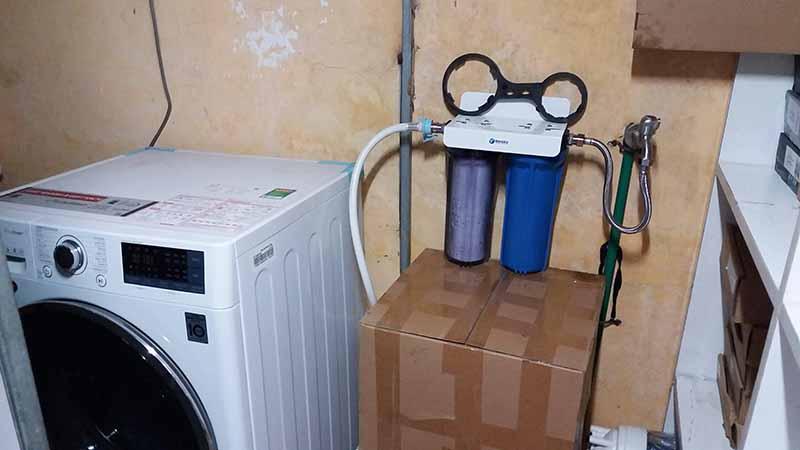 Bộ lọc thô 2 cấp lọc lắp đặt cho máy giặt