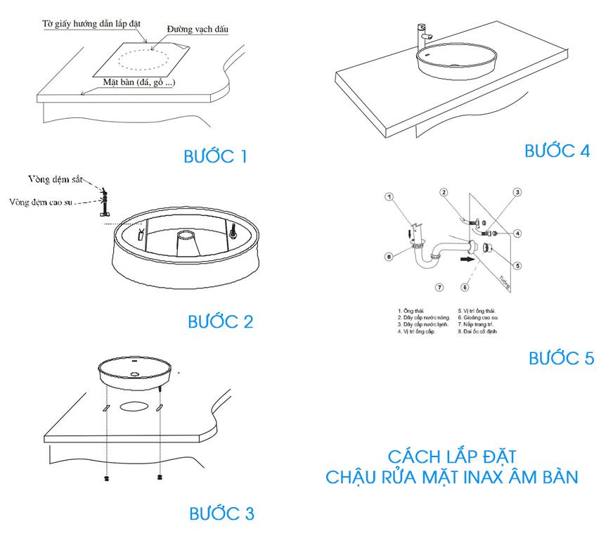 Cách lắp đặt chậu rửa mặt Inax âm bàn