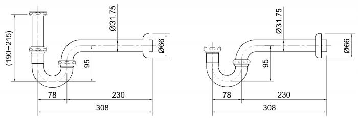 Kích thước ống xả Lavabo 262