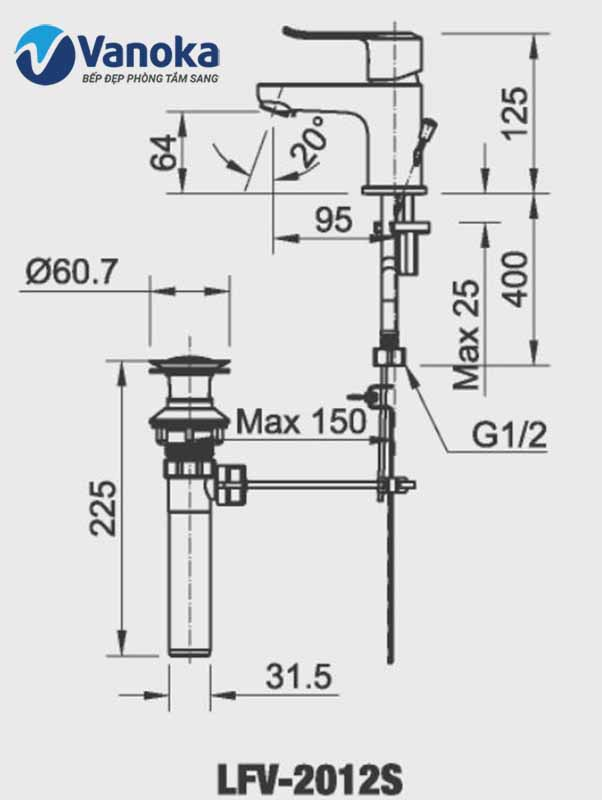Vòi chậu nóng lạnh Inax LFV-2012S