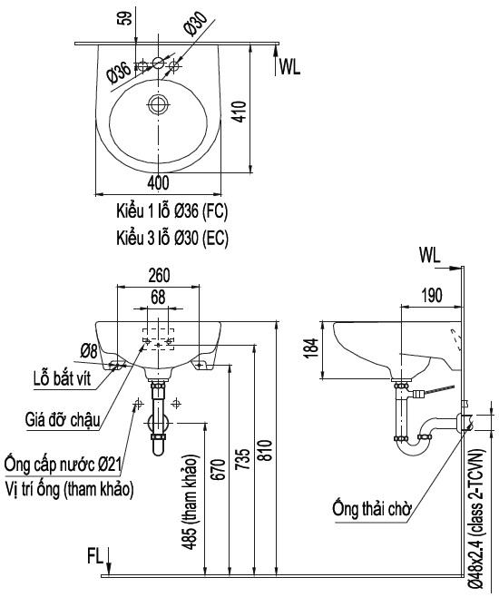 Kích cỡ chậu rửa Lavabo treo tường Inax L-282VEC