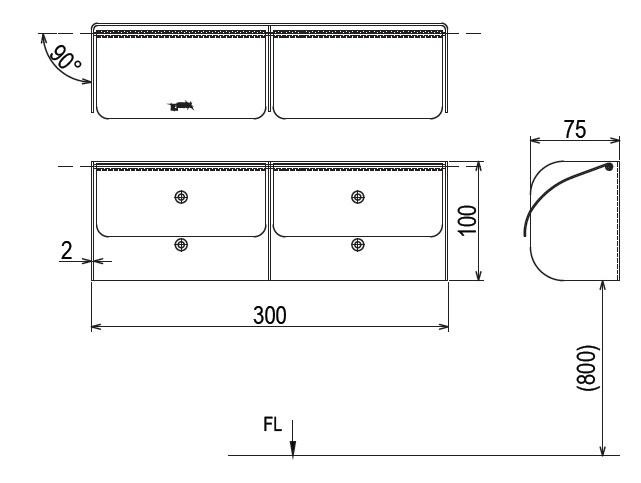 Kích cỡ hộp đựng giấy Toilet đôi Inax CFV-11W