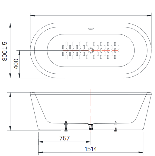 Kích thước bồn tắm Inax BF-1757 đặt bàn
