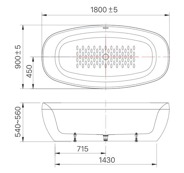 Kích thước bồn tắm Inax BFV-1858
