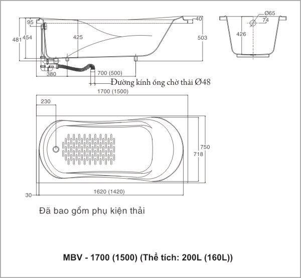 Kích thước bồn tắm Inax Ocean MBV-1700