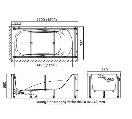 Kích thước bồn tắm Inax yếm trái phải FBV-1502